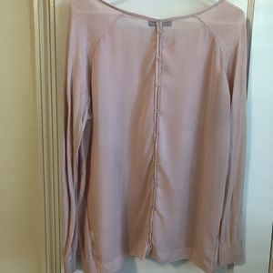Pink cotton and chiffon button back sweater